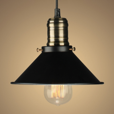 Industrial Pendant Light with 10''W Saucer Shape Shade, Black HL454088 фото