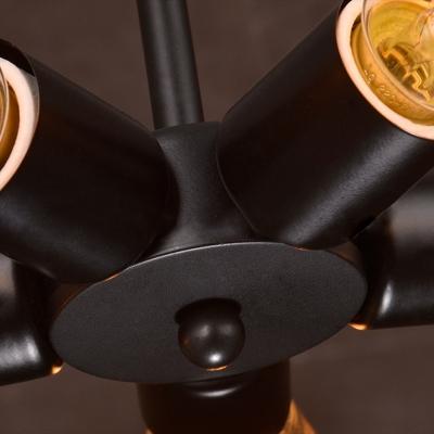 Industrial 5 Light Chandelier in Open Bulb Style, Black