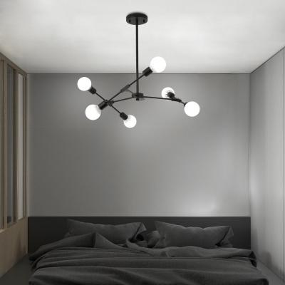 Industrial 6-Light Chandelier in Open Bulb Style, Black