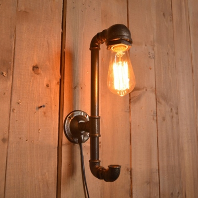 Pipe Wall Sconce In Bare Bulb Style Bronze
