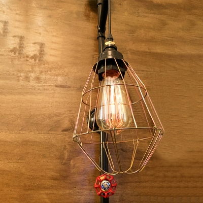 Industrial Pipe Wall Sconce with Metal Cage and Preaaure Gauge, Black