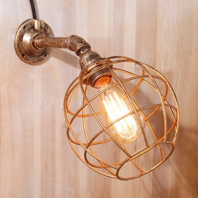 Industrial Wall Sconce in Pipe Style with Globe Metal Shade, Rust
