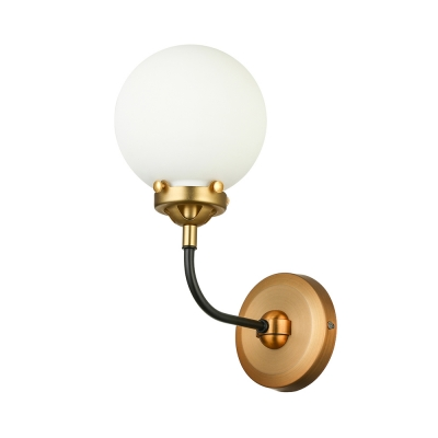 1-Light LED Wall Sconce in Antique Brass with Frosted Shade