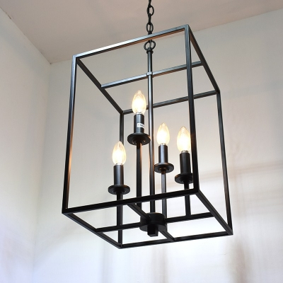 Industrial 16 Quot W Chandelier With Square Metal Cage In Black