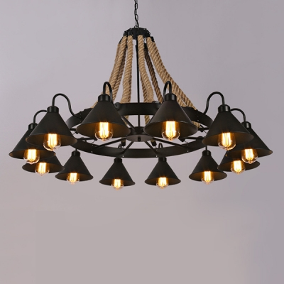 Industrial 43''W Large Chandelier with Rope and Cone Metal Shade in Black, 12 Light