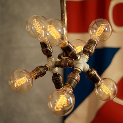 Industrial 8 Light Pipe Chandelier in Open Bulb Style, Rust