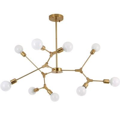Industrial 9-Light Chandelier 41''W in Bare Bulb Style, Gold