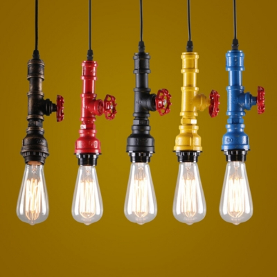 Industrial Vintage Pendant Light with Pipe Fixture, Valve Decoration, Black;blue;green;red;yellow;antique bronze