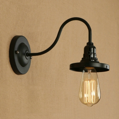 Industrial wall sconce with gooseneck fixture arm in barn style black - Gooseneck wall sconce ...