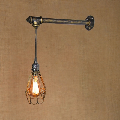 Industrial Wall Sconce With Metal Cage Shade And Hanging