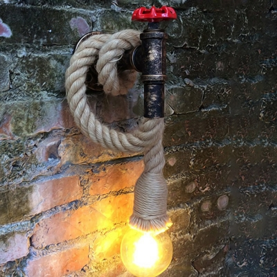 Industrial Wall Sconce with Rope Fixture Arm in Pipe Style
