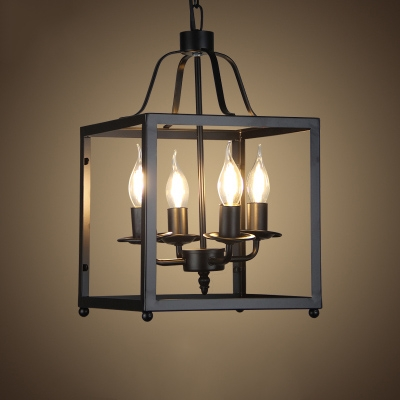 Industrial 4 Light Chandelier With Square Metal Cage In