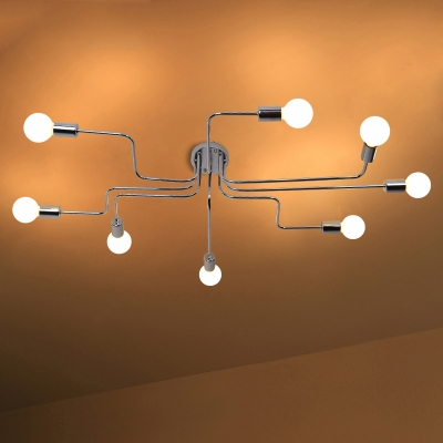 Industrial Chrome Large Semi Flush Ceiling Light Metal 8 Light Ceiling Lamp for Living Room Clothes Stores