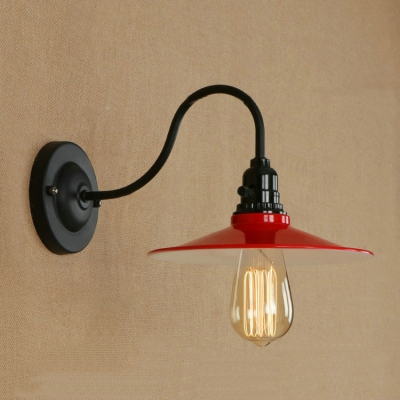 Industrial Wall Sconce with 8.66''W Metal Shade in Red Finish