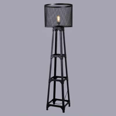 Wrought iron drum shaded industrial black iron network floor lamp mozeypictures Choice Image