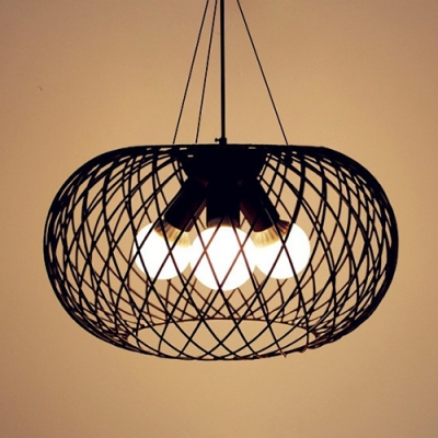 Industrial 18''W Chandelier with Oval Metal Cage, 3 Light
