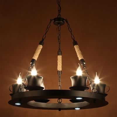 Industrial 25.5''W Chandelier with Teacap Lamp Socket in Black, 6 Light