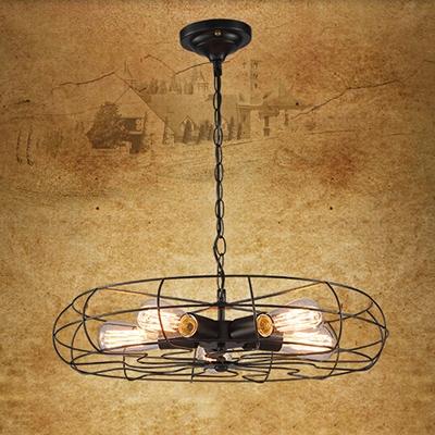 Industrial 5 Light Fan Chandelier 22''W with Metal Cage in Black