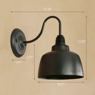 Industrial Wall Sconce with 8.27''W Metal Shade and Gooseneck Fixture Arm, Black
