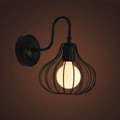 & Industrial Wall Sconce with Pumpkin Metal Cage in Black/White ...