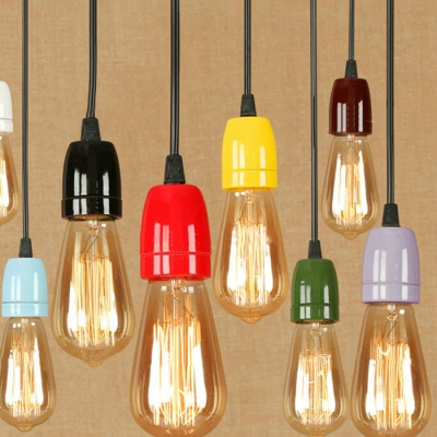 Industrial Mini Pendant Light in Bare Bulb Style, HL454220, Black;blue;brown;green;red;purple;yellow