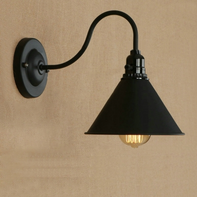 Industrial Wall Lamp with 7.5''W Cone Shade and Gooseneck Fixture Arm, Black