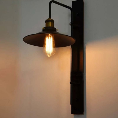 Industrial Wall Sconce with Saucer Metal Shade, Black