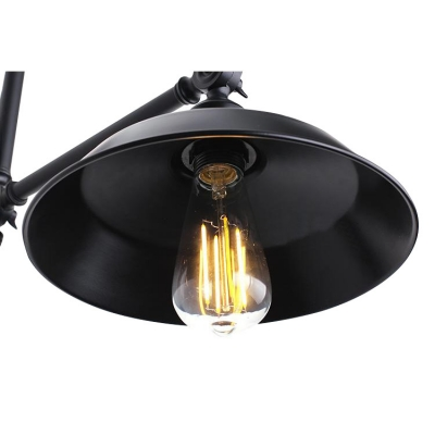 Industrial Adjustable Wall Light with 10.24''W Warehouse Metal Shade, Black