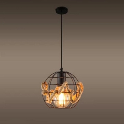 Industrial Pendant Light with Globe Metal Cage, Black
