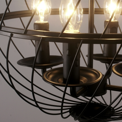 Industrial Vintage 4 Light Chandelier with 16.5''W Globe Metal Cage in Black