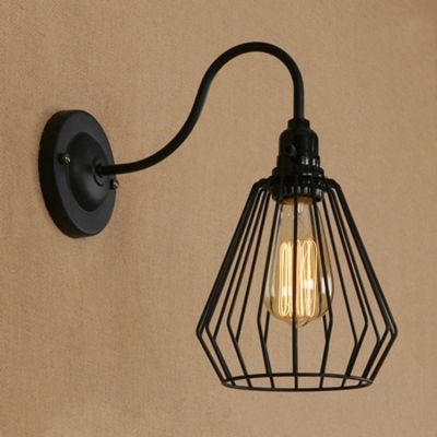 Industrial Wall Sconce with Diamond Shape Metal Cage and Gooseneck ...