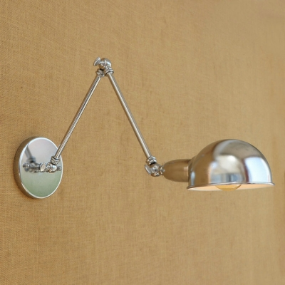 Industrial Adjustable Wall Sconce with Bowl Shade, Chrome ...