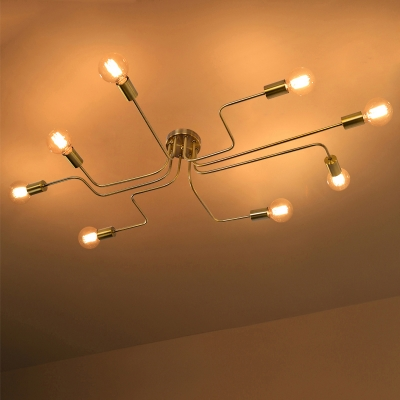 Industrial edison bulb wrought iron 8 light large led semi flush industrial edison bulb wrought iron 8 light large led semi flush ceiling light in gold mozeypictures Image collections