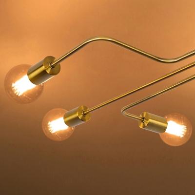 Brushed Gold Large Semi Flush Mount Light Wrought Iron 8 Ceiling Fixture