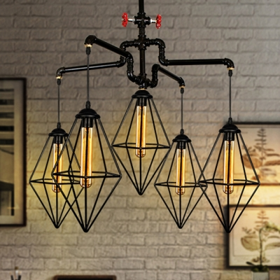 Baycheer / Industrial Pipe Chandelier with Valve and Mini Metal Cage in Black
