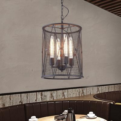 Industrial 14''W Chandelier with Cylinder Metal Mesh in Black, 4 Light