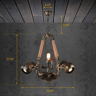 Industrial 5 Light Chandelier with Valve in Pipe Style, Antique Bronze