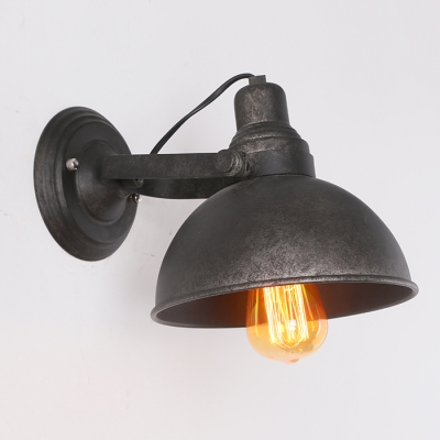 Industrial Wall Light with 8.27''W Bowl Shade in Black Finish