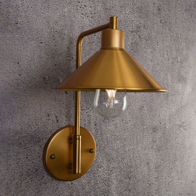 Industrial Wall Sconce with 8.5''W Cone Metal Shade, Gold