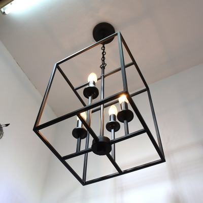 Industrial 157w chandelier with square metal cage in black 4 industrial 157w chandelier with square metal cage in black 4 light aloadofball Image collections