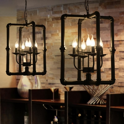Pipe Chandelier With Metal Frame In Black 5 Light Beautifulhalo