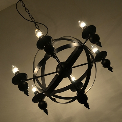 Industrial Vintage 6 Light Chandelier 26''W with Metal Cage Frame, Black