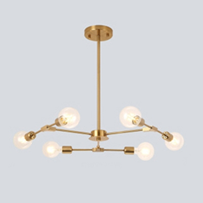 Industrial 6-Light Chandelier in Open Bulb Style, Gold