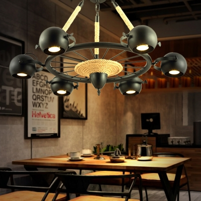 Industrial 6 Light Spotlight Chandelier with Rope in Black Finish