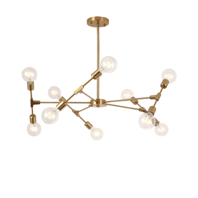 Industrial 10-Light Chandelier 38''W in Bare Bulb Style, Gold