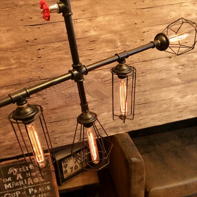 Industrial Large Pipe Chandelier with Metal Cage in Black, 5 Light