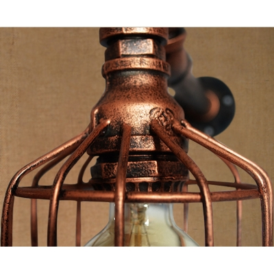 Industrial Wall Sconce with Metal Cage Shade in Rust Finish