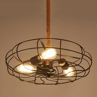 Industrial 14.5''W Fan Chandelier with Hanging Rope, 3 Light