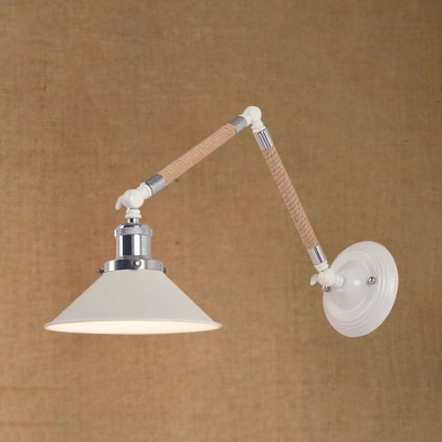 Industrial Adjustable Wall Sconce with 8.5''W Metal Shade and Rope Fixture Arm