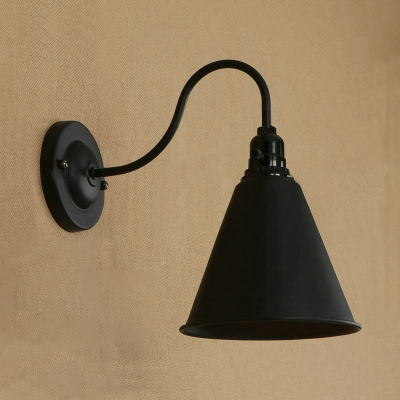Industrial Wall Sconce with 7.09''W Cone Metal Shade in Black/White Finish